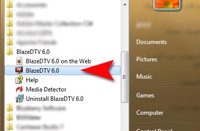 اجرا کردن BlazeDTV از منوی استارت ویندوز