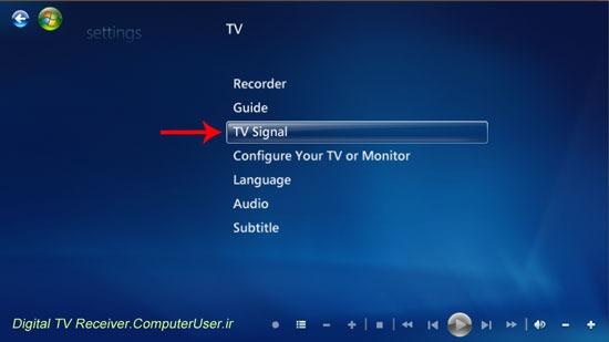 روی TV Signal کلیک کنید.