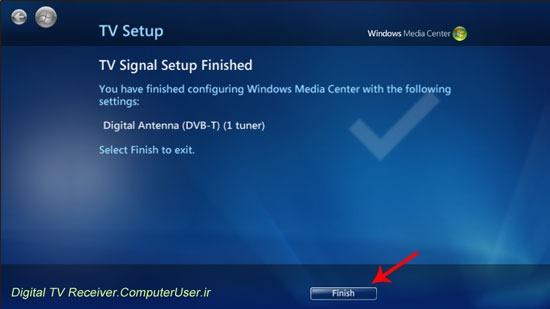 کار تنظیم کردن Windows Media Center برای نمایش تلویزیون و رادیو به اتمام رسید.